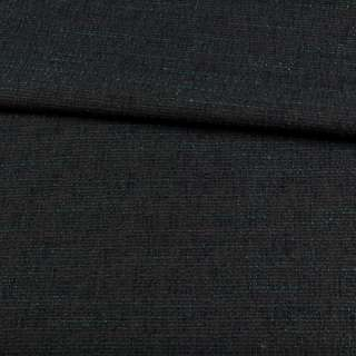 Рогожка с шерстью серая темная, зеленые нити, ш.155