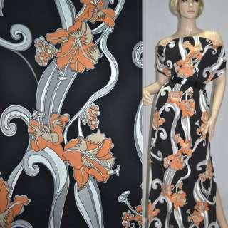 Коттон стрейч черный в оранжевые цветы ш.135