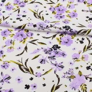 Коттон APANAGE белый, сиреневые цветы, ш.150