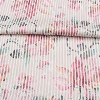 Коттон стрейч APANAGE бежевый, розовые цветы, белая полоска, ш.128