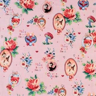 Коттон розовый в клетку с медальонами и розами, ш.146