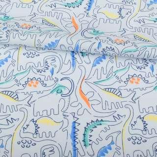 Коттон голубой, разноцветные динозавры, ш.145