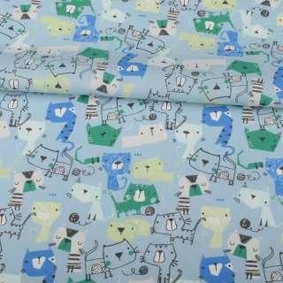Коттон голубой, синие, голубые, зеленые кошки, ш.145