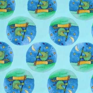 """Коттон """"Popelin"""" светло-бирюзовый лягушки на синих кругах ш.147"""
