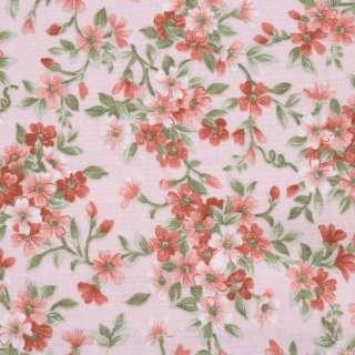 """Коттон """"Англия"""" персиковый в терракотовые цветы ш.110"""