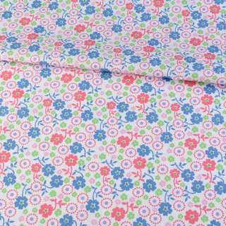 Коттон белый в синие, розовые, зеленые цветочки, ш.145