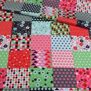 Коттон разноцветные квадраты пэчворк, ш.145