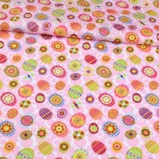 Коттон розовый, розовые, салатовые пасхальные яйца, ш.148