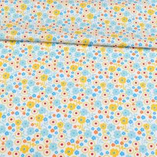 Коттон белый, голубые, желтые, синие цветы, ш.143