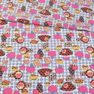 Котттон белый с коричневыми и розовыми грибочками, ш.148
