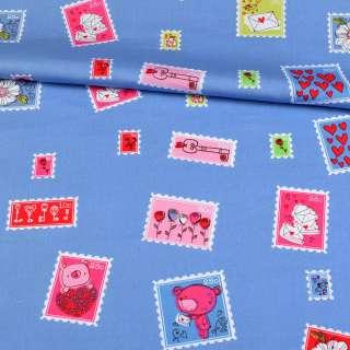 Коттон голубой, разноцветные марки, ш.148