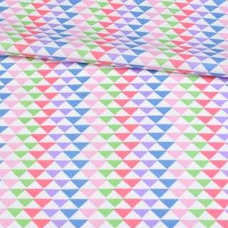 Коттон белый в синие, розовые, зеленые треугольники, ш.145