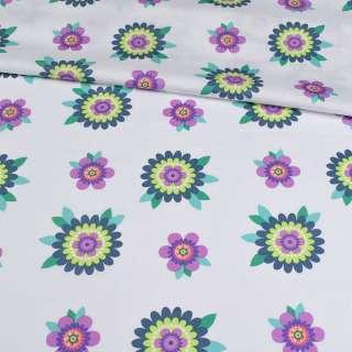 Коттон белый, сиренево-салатовые цветы, ш.150