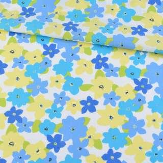 Коттон белый в голубые, синие, желтые цветы, ш.160