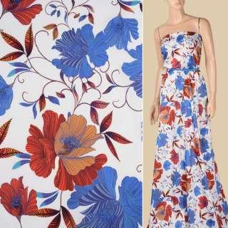 Коттон белый, синие, оранжево-желтые цветы, ш.145