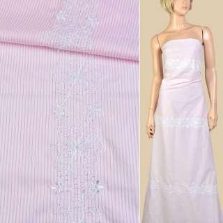 Коттон белый в розовую полоску, белая цветочная вышивка (3 полосы вдоль ткани) ш.150