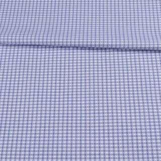 Коттон жаккардовый белый в голубую клетку ш.155