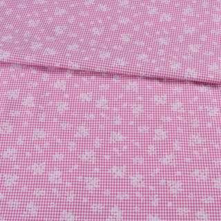 Коттон двухсторонний в бело-розовую мелкую клетку и белый цветок ш.150