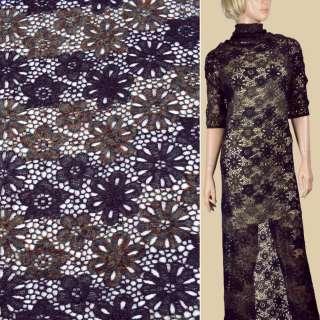 Кружево шерстяное фиолетовое+меланж, ш.105