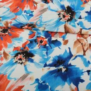 Лен белый, сине-голубые, оранжевые цветы, ш.137