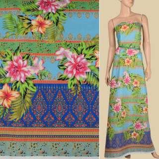 Лен голубой, цветные полоски с орнаментом, тропические цветы, 1-ст.купон, ш.140