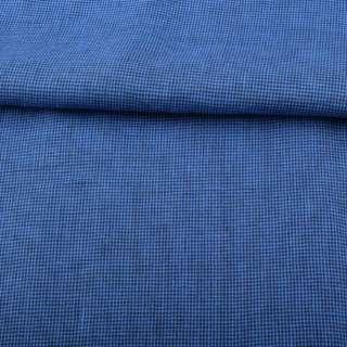 Лен синий в мелкую темно-синюю клетку ш.150
