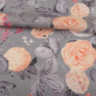 Лен серый, акварельные персиковые и серые цветы, ш.142