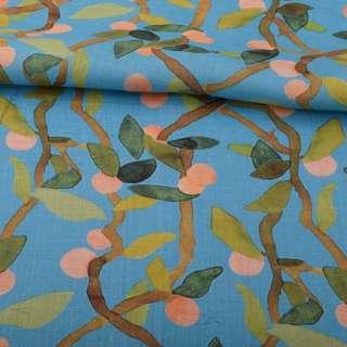 Лен голубой, ветви с абрикосами и зелеными листьями, ш.140