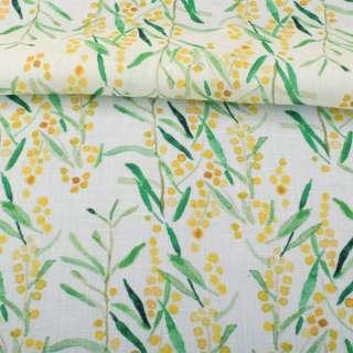 Лен белый, акварельные желтые цветочки, зеленые листья, ш.140