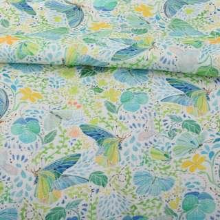 Лен белый, салатово-голубые бабочки, зеленые листья, оранжевые цветы, ш.140