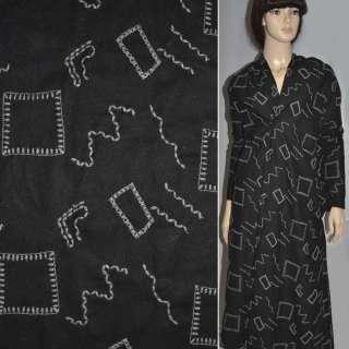 Шерсть костюмая черная с вышитыми квадратами ш.150