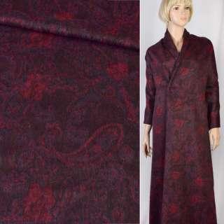 """Альпака """"GERRY WEBER"""" черная в красно-фиолетовый узор, ш.150"""