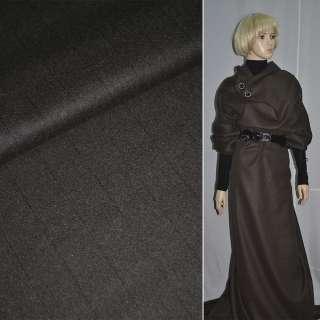 Шерсть пальтовая полосы узкие черные коричневая темная, ш.148 см