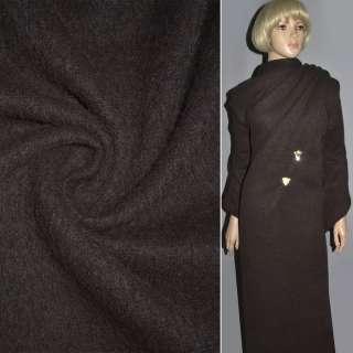 Пальтовая ткань с ворсом коричневая темная, ш.150