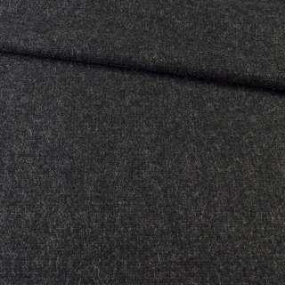 Шерсть пальтовая черная с серыми штрихами, ш.151