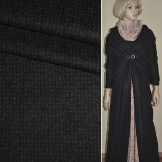 Шерсть пальтовая Philipp штрихи мелкие коричневые черная, ш.151
