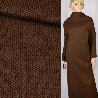 "Трикотаж пальтовый ""GERRY WEBER"" коричневый крупная вязка, ш.155"