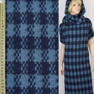 Пальтовый трикотаж Gerry Weber в клетку сине-голубой, ш.145