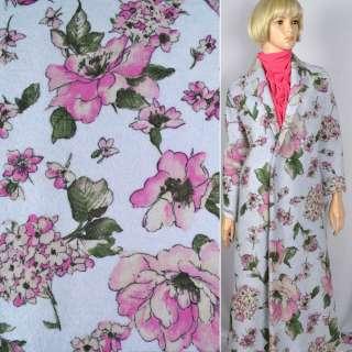 Лоден пальтовый Luna Cotta Drack цветы принт розовые на голубом фоне, ш.140