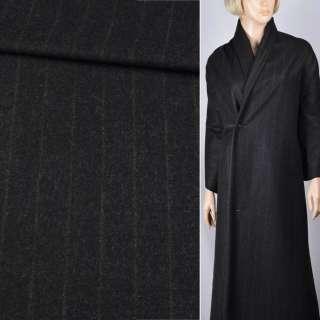 Шерсть пальтовая черная в тонкую коричневую полоску, ш.150