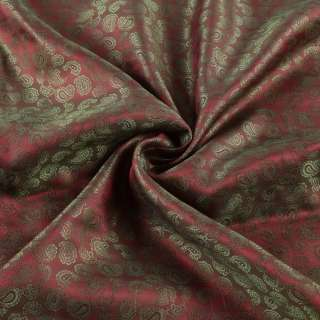 Вискоза подкладочная бордовая в оливковые огурцы, ш.143