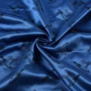 Вискоза подкладочная синяя, дикие утки, ш.142