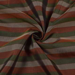 Вискоза подкладочная в бежевую, зеленую, коричневую полоску, ш.142