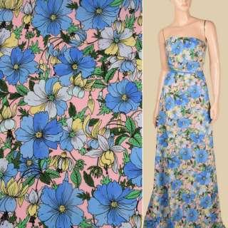 Креп розовый в сине-голубые цветы, ш.148