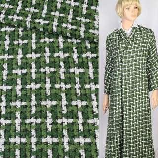 Рогожка букле пальтово-костюмная гусиная лапка зеленая с белым, ш.145
