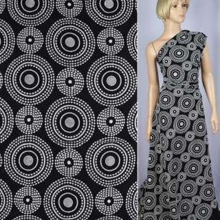 Коттон черный с белой купонной вышивкой ш.140