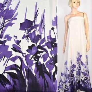 Креп молочный в фиолетовые цветы, купон 1-ст, ш.148