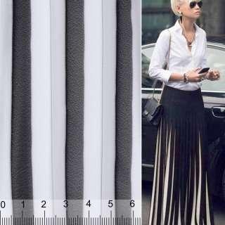 Шифон плиссе черно-белый ш.135 (продается в натянутом виде)