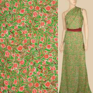 Креп-шифон вискозный зеленый, розовые цветы, ветки, ш.137