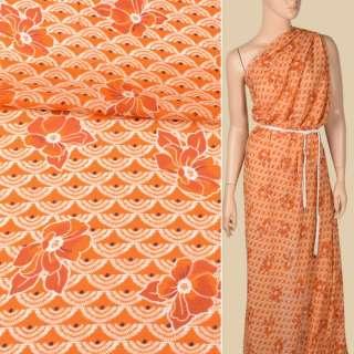 Креп-шифон вискозный оранжевый, белые веера, оранжевые цветы, ш.136